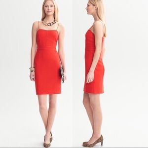 Banana Republic Red Piped Corset Wool Dress